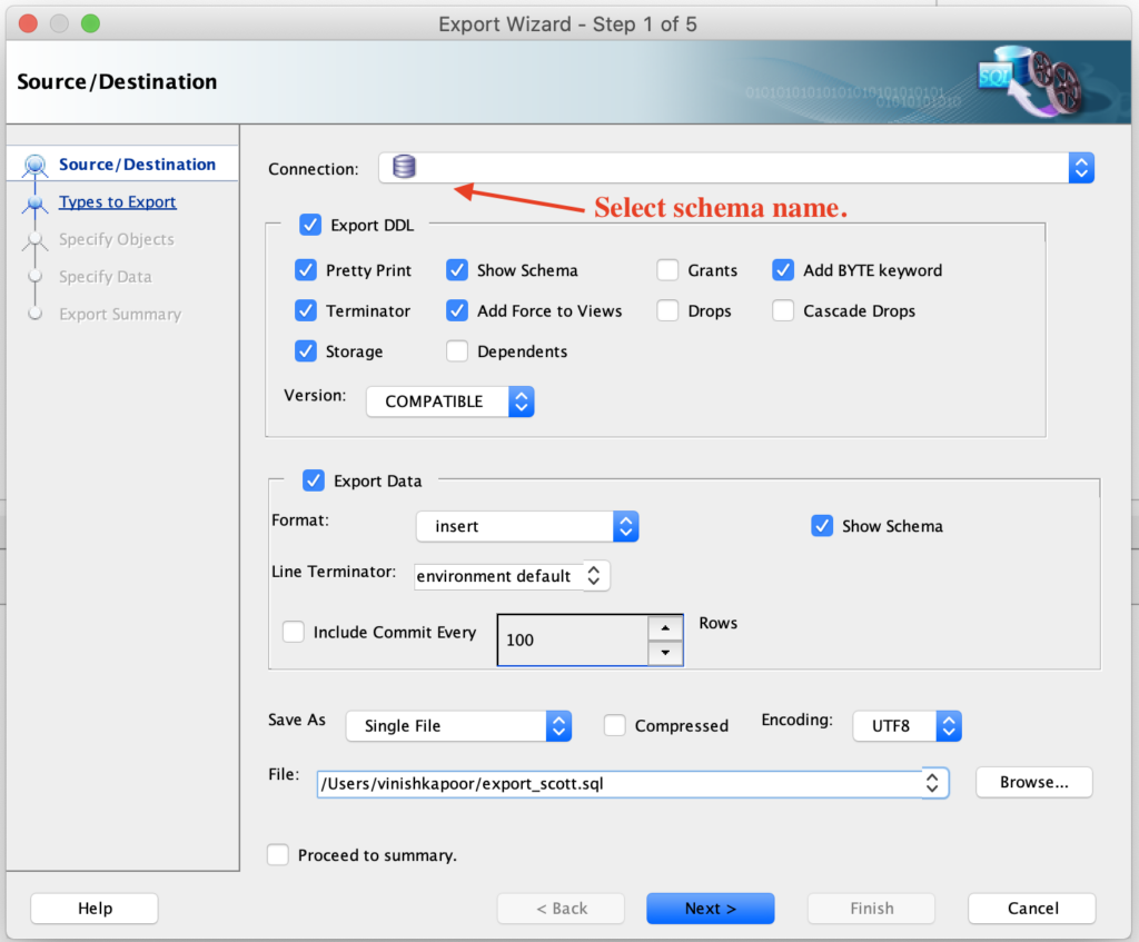 Step-1: Exporting schema using Oracle SQL Developer.