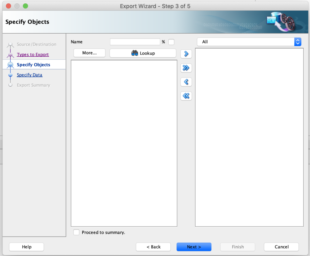 Step-3: Select specific objects or select all in SQL Developer.