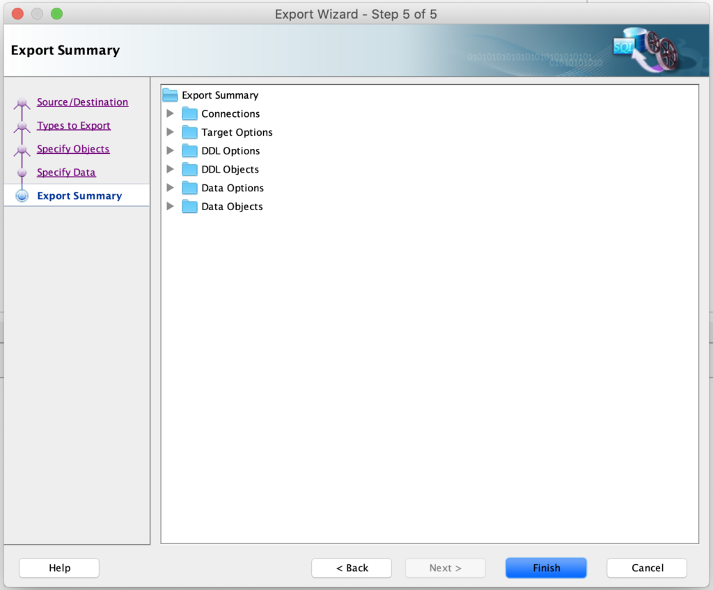 Step-5: Completing export for the database objects using SQL developer.