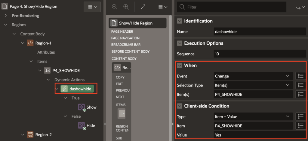 Dynamic Action client-side condition settings.