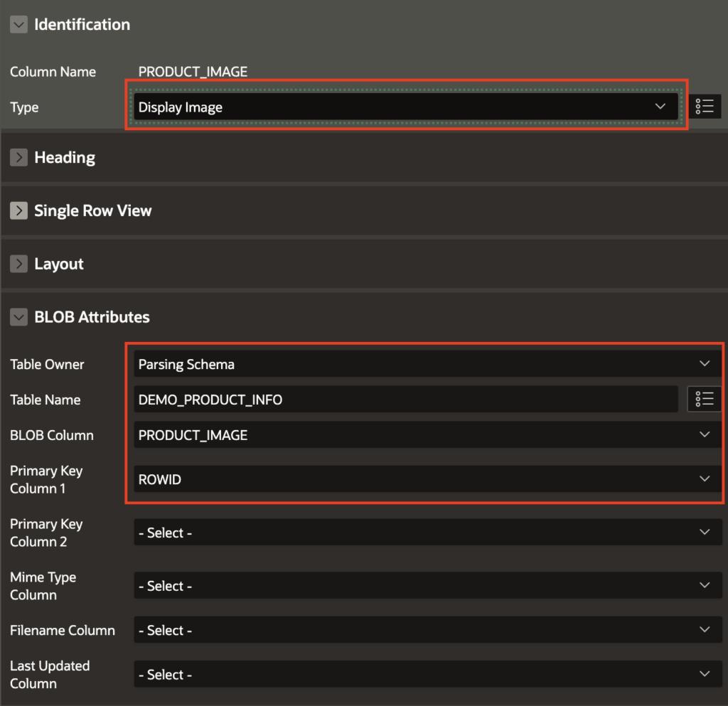 Oracle Apex: Interactive Report BLOB column property settings.