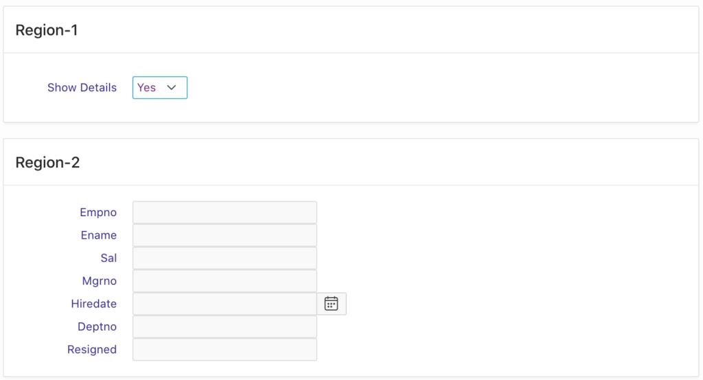 Oracle Apex - show/hide region on the select list change event.