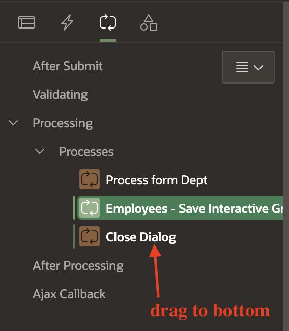 Oracle Apex process tab.