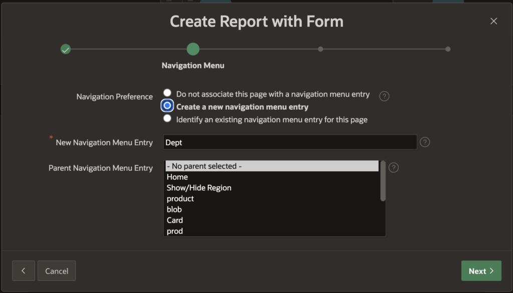 Specify navigation menu entry.