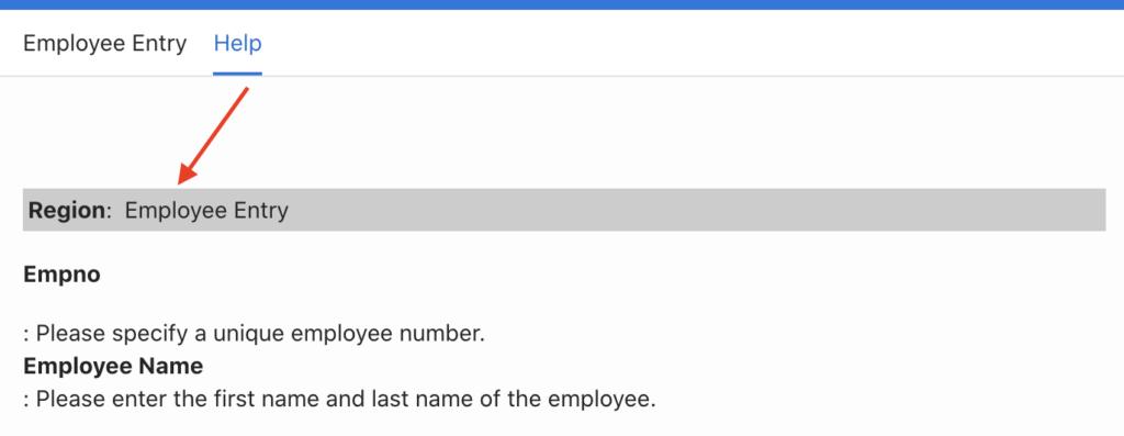 Creating Help tab in Oracle Apex.