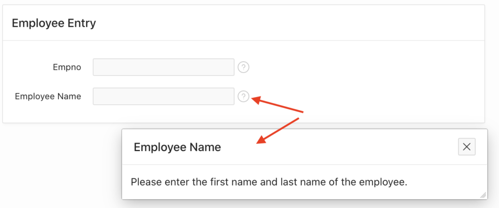 Showing help text in Oracle Apex.