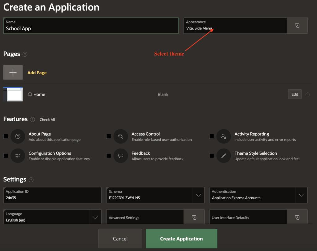 Define application settings.