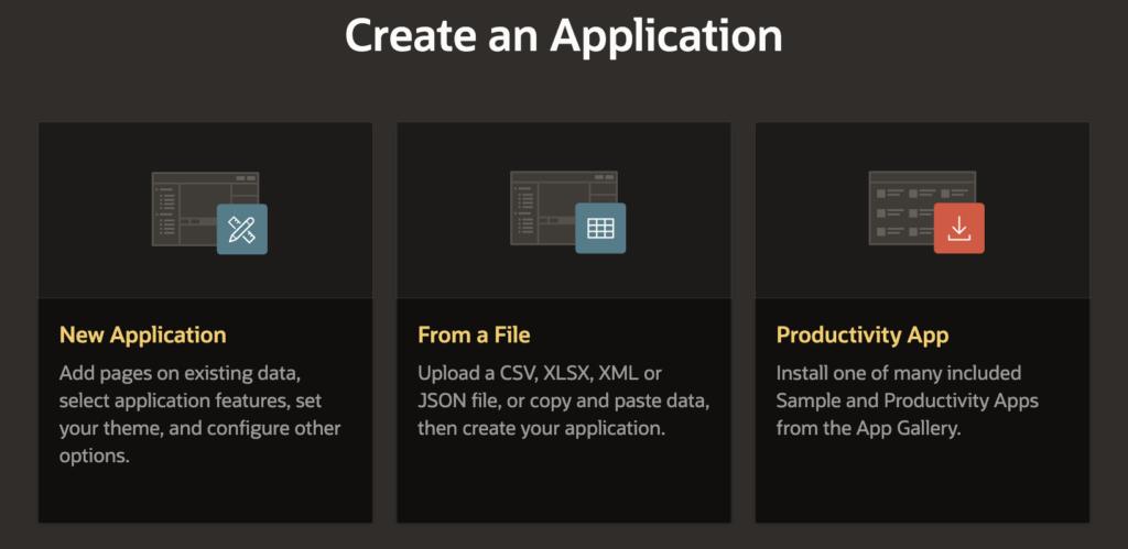 Select new application option.