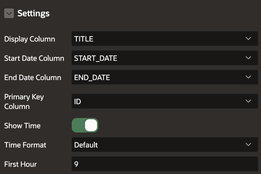 Calendar region settings.
