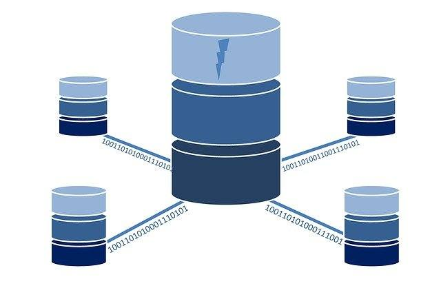 Image illustrating small databases transferring information to central database server.